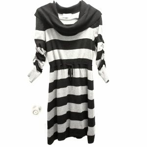 Pink Rose Black Gray Striped Dress